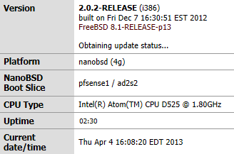 pfsense version info