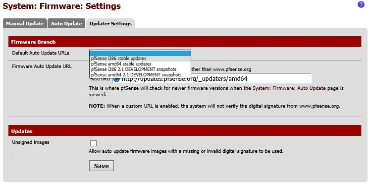 PFSense firmware URL Select